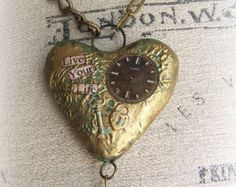 Handmade  Mixed Media Altered Necklace Vintage Chain Necklace Vintage Necklace Heart Pendant Wearable Art