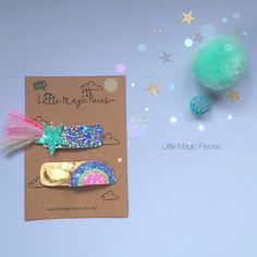 I Believe in Unicorns, Rainbow Star Glitter Snap Hair Clip Set, Little Magic Pieces