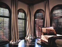 arched window treatments - very elegant from ceiling level - don't think I would…