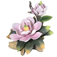 """Candabean Collectibles  - Andrea SADEK 7.5"""" Giant Pink Magnolia with Bud Porcelain Flower Figure, $75.00 (http://www.candabeancollectibles.com/andrea-sadek-7-5-giant-pink-magnolia-with-bud-porcelain-flower-figure/)"""