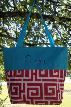 Monogrammed Red Greek Key Tote with Blue Trim | The Old Bag's Bags