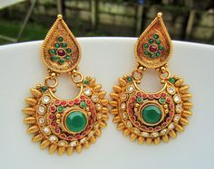 Green Stone and Gold Chandbalis Traditional Earrings by Alankaar, $36.00