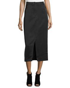 High-Waist Slim Midi Skirt, Black, Women's, Size: 0 - Opening Ceremony