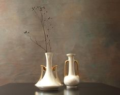 Two Lusterware Bud Vases Pearl Iridescent Ceramics by PattyMora