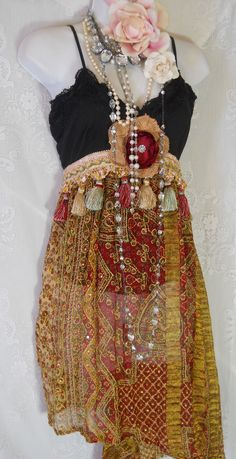 This is so pretty. One of my scarves looks like the skirt of this. Bohemian tassel dress embroidery ethnic tribal rose gypsy boho rose medium by vintage opulence on Etsy