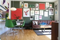I love this retro style—all of it. Especially the art & green chairs.