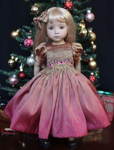 "Smocked Silk Ensemble for Effner 13"" Little Darling Dolls Petite Princess Design"
