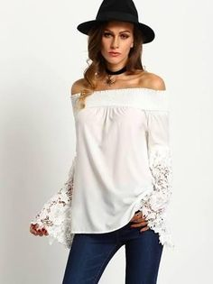 f24c8c5a903a28 White Off The Shoulder Lace Embroidered Sleeve Blouse