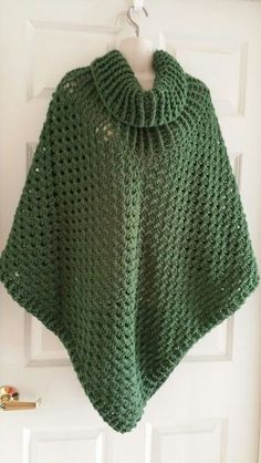 Hot Off My Hook! Project: Cowl-Neck Poncho Started: 03 June 2015 Completed: 08 June 2015 Model: Madge the Mannequin Crochet Hook(s): K, Cowl portion, J, Granny stitch portion Yarn: Redheart Super Saver Color(s): Medium Thyme Pattern Source: Simply Crochet Magazine Issue No. 25 Pattern Design: Simone Francis Notes: This my 4th cowl neck poncho in 2 weeks. This one is for my Cousin. I didn't add fringe, but I did add a border.