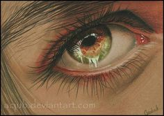 'Iridescent', colored eye drawing by Christina Acjub from Norway. www.acjub.deviantart.com