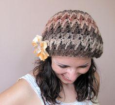 Elegant crochet beret hat in chocolate brown honey by elfinhouse, $23.00