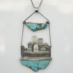 Turquoise City | Statement Silver Pendant - product images  of SCHJ www.silverchamber.co.uk