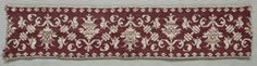 Embroidered Strip  Italy, 16th century    Date: 1500s    Medium: embroidery; silk on linen    Dimensions: Overall - h:7.60 w:35.60 cm (h:2 15/16 w:14 inches)    Department: Textiles    Type of art work: Embroidery