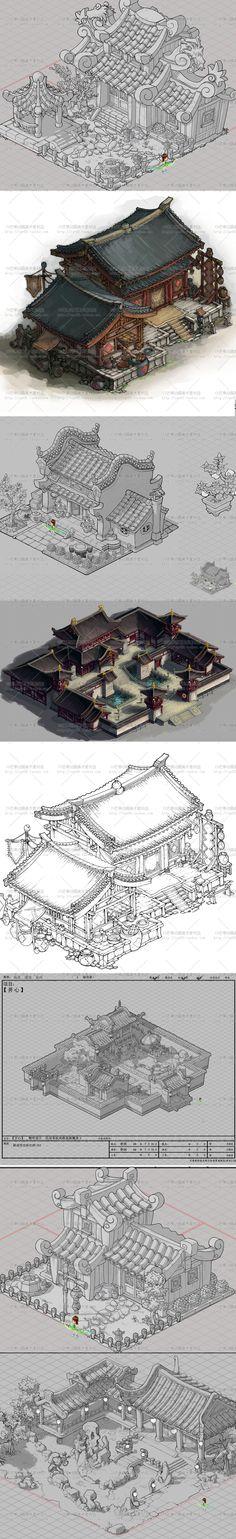 【原画集】国风Q版建筑 线稿 场景 CG设定 游戏 资料 分层图集-淘宝网