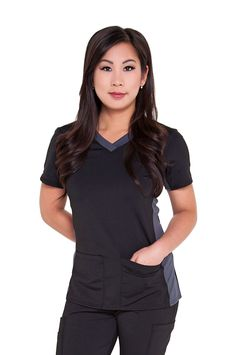 Our light & luxe tops are built for comfort and style! Built with Driflex: - Keeps you cool - Quick drying - Easy care - stretch Contrast Panelling: - Extra stretch around the neck to prevent yo Housekeeping Uniform, Restaurant Uniforms, Black Scrubs, Scrubs Uniform, Scrub Life, Medical Scrubs, Nursing Clothes, Work Shirts, Scrub Tops