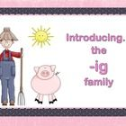 Hi friends! - Here is an interactive Smart Board lesson that I use to teach the -ig word family chunk.  It has 11 slides full of words, graphics...