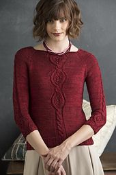 """""""Altered from an allover pattern worked in lace yarn, this pattern, alone and grouped on the back of the sweater, creates a delightfully elegant pullover."""""""