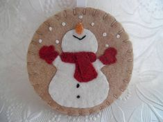Primitive Snowman Ornament Felt Red Scarf Mittens Penny Rug
