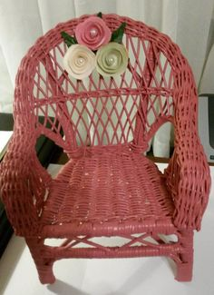 Small Shabby Chic Decorative Wicker Chair by JAMsCraftCloset