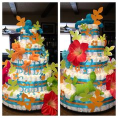 Made this for cousins tropical baby shower.  Made sea animals of baby washcloths and all cut outs and wording made with my Cri-cut.  200 diapers.  Love diaper cakes!