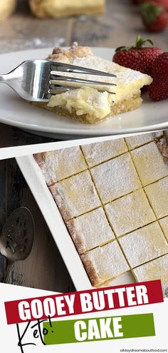Gooey butter cake gets a keto makeover! This cake is so easy to make and so rich and buttery, and only 4g total carbs per serving! #gooeybuttercake #ketocakerecipe #ketodiet #ketodesserts #ketorecipes #lowcarbhighfat #lowcarbrecipes