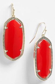 Kendra Scott red drop earrings
