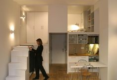 Smart Space Compact Loft in Madrid Displaying Smart Storage Solutions by Beriot Bernardini Arquitectos