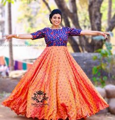 Roja Peach and Blue Long Frock - Indian Dresses Long Gown Dress, Frock Dress, Lehnga Dress, Anarkali Lehenga, Saree Blouse, Half Saree Designs, Blouse Designs, Dress Designs, Frock Models