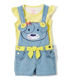 Take a look at this Yellow Angel-Sleeve Top & Puppy Shortalls - Infant, Toddler & Girls today!