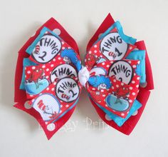 Dr Seuss Pinwheel Bow  Red and Turquoise  No by FroggyPrincess