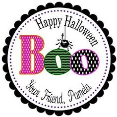 """40 Labels 2"""" Round Personalized Halloween Boo and Spider, Custom Labels, Party Favors - CHOICE OF SIZE Halloween Labels, Halloween Stickers, Halloween Boo, Personalized Stickers, Custom Labels, Party Favors, Spider, Discount Uggs, Discount Lighting"""