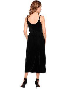 Black Cross-straps Hollow Out Elastic Lint Maxi Cami Dress
