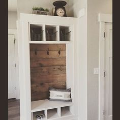 Rustic Small Mudroom Bench Ideas ✓ - Even a shallow house, just like the one pictured right here, can operate as a mudroom with inventive storage design. bench with storage Rustic Small Mudroom Bench Ideas ✓ Closet Bench, Entry Closet, Front Closet, Closet Mudroom, Hall Closet, Home Renovation, Home Remodeling, Closet Remodel, Bench Designs