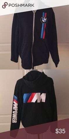 men's zip up hoody men's zip up hoody (BMW), fits me size medium just a little over sized. great condition and light extremely comfy BMW Sweaters Zip Up