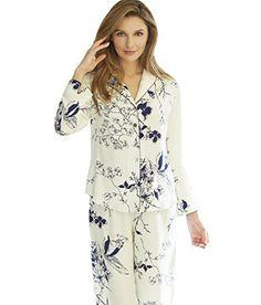 90ec732a9b Julianna Rae Natalya Womens 100 Silk Print Pajamas Midnight Floral XS      Want to