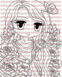Digital Stamp  Rosetta Digi Stamp Coloring page by artbymiran
