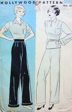 1930s RARE Marlene Dietrich StylePANTS TROUSERS Pattern HOLLYWOOD 650 Fabulous Wide Leg Cuffed Pants, Pleats Below Fitted Waistband Vintage Sewing Pattern Bust 38 Hip  41
