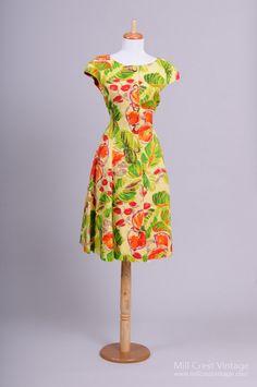 1980+Abstract+Floral+Vintage+Day+Dress+:+Mill+Crest+Vintage
