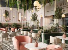 VWArtclub - WHITE GARDEN LOUNGE White Restaurant, Deco Restaurant, Restaurant Concept, Modern Restaurant, Restaurant Lounge, Cafe Shop Design, Restaurant Interior Design, Shop Interior Design, Deco Zen