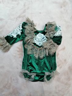 Vintage style romper, baby photo prop, unique baby girl outfit, velvet Christmas romper