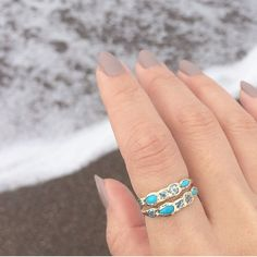 """Wishing I was at the beach on this sweltering hot day with these @misajewelry rings ☀️✨ #jewelry #gold #14k #turquoise #dainty #delicate #rings #beach #summer #misajewelry #mermaidlife"" Photo taken by @thedaintyaddiction on Instagram, pinned via the InstaPin iOS App! http://www.instapinapp.com (08/03/2015)"