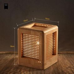 Details about Wooden Hollowed Out Box Shade Single Light Table Lamp with Red Cord Chandelier Desk Light, Light Table, Wooden Box Designs, Square Lamp Shades, Wooden Table Lamps, Wooden Lampshade, Bamboo Table, Wood Table, Wooden Cubes