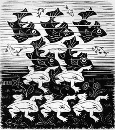 Metamorfosen - In deze serie prenten maakt Escher gebruik van de regelmatige vlakverdeling om figuren van de ene vorm in de andere te laten overgaan.