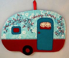 Happy Camper 10 Mug Rug by QuiltinCats on Etsy, $12.00