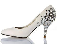Wide Width Womens High Heels Rhinestone Stiletto Heel Party Evening Graduation White Round Toe On Line Women's Shoes