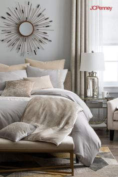 Layer on the comfort. Just add pillows in subdued shades of lavender and rose for a luxe look. Don't be afraid to mix patterns—combining complementary geometric patterns creates super stylish, sophisticated appeal. Create this look with the Mercer bedding Home Decor Bedroom, Living Room Decor, Bedroom Plants, Cozy Bedroom, Living Rooms, Bedroom Ideas, Master Bedroom, Natural Home Decor, Dream Rooms