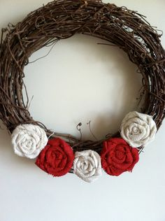 Red and White Ivory Burlap Wreath by redesignaccessories on Etsy, $17.00