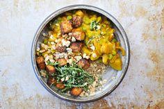 pumpkin curry with peanuts, peas + crispy spice-crusted tofu - the pig & quill Tofu Recipes, Pumpkin Recipes, Cooking Recipes, Pumpkin Curry, Curry Spices, Bean Burger, Quill, Peanuts, Clean Eating