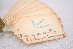 Blue Bird Tags Friendship Favor Tags Dreams by seasonaldelights,