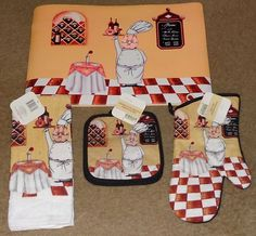 6 PC Fat Bistro Chef Kitchen Set 2 Placemats Towel Pot Holder Oven Mitt 4 |
